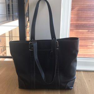 Coach black vintage leather tote!